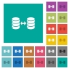 Syncronize databases square flat multi colored icons - Syncronize databases multi colored flat icons on plain square backgrounds. Included white and darker icon variations for hover or active effects.