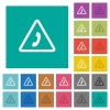 Emergency call square flat multi colored icons - Emergency call multi colored flat icons on plain square backgrounds. Included white and darker icon variations for hover or active effects.