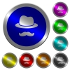 Incognito with mustache luminous coin-like round color buttons - Incognito with mustache icons on round luminous coin-like color steel buttons