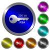 256 bit rsa encryption luminous coin-like round color buttons - 256 bit rsa encryption icons on round luminous coin-like color steel buttons