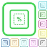 Scale object by percent vivid colored flat icons - Scale object by percent vivid colored flat icons in curved borders on white background