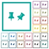 Toggle pin flat color icons with quadrant frames - Toggle pin flat color icons with quadrant frames on white background