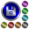 Help file luminous coin-like round color buttons - Help file icons on round luminous coin-like color steel buttons