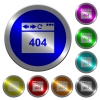 Browser 404 page not found luminous coin-like round color buttons - Browser 404 page not found icons on round luminous coin-like color steel buttons