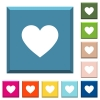 Heart card symbol white icons on edged square buttons - Heart card symbol white icons on edged square buttons in various trendy colors