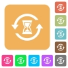 Reload symbol with sandglass rounded square flat icons - Reload symbol with sandglass flat icons on rounded square vivid color backgrounds.