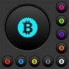 Bitcoin sticker dark push buttons with vivid color icons on dark grey background