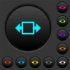 Width tool dark push buttons with color icons - Width tool dark push buttons with vivid color icons on dark grey background