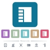 Vertical tabbed layout active white flat icons on color rounded square backgrounds. 6 bonus icons included - Vertical tabbed layout active flat icons on color rounded square backgrounds