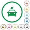 Electric car with flash flat icons with outlines - Electric car with flash flat color icons in round outlines on white background