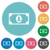 Single banknote  with portrait flat round icons - Single banknote  with portrait flat white icons on round color backgrounds