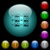 Multiple image selection with checkboxes icons in color illuminated glass buttons - Multiple image selection with checkboxes icons in color illuminated spherical glass buttons on black background. Can be used to black or dark templates