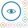 Eye flat color vector icons with shadows in round outlines on white background