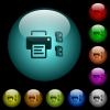 Printer and ink cartridges icons in color illuminated glass buttons - Printer and ink cartridges icons in color illuminated spherical glass buttons on black background. Can be used to black or dark templates