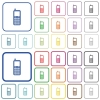 Retro mobile phone outlined flat color icons - Retro mobile phone color flat icons in rounded square frames. Thin and thick versions included.
