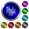 Tic tac toe game icons on round luminous coin-like color steel buttons
