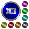 Railroad discount coupon luminous coin-like round color buttons - Railroad discount coupon icons on round luminous coin-like color steel buttons