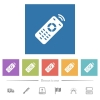 Working remote control flat white icons in square backgrounds - Working remote control flat white icons in square backgrounds. 6 bonus icons included.