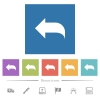 Reply to mail flat white icons in square backgrounds. 6 bonus icons included. - Reply to mail flat white icons in square backgrounds