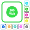 200 mbit guarantee sticker vivid colored flat icons in curved borders on white background