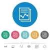 Report with graph flat white icons on round color backgrounds. 6 bonus icons included. - Report with graph flat round icons