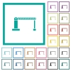 Closed barrier flat color icons with quadrant frames - Closed barrier flat color icons with quadrant frames on white background