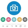 Camera flat round icons - Camera flat white icons on round color backgrounds. 6 bonus icons included.