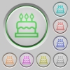 Birthday cake color icons on sunk push buttons