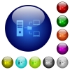 Network file system with server color glass buttons - Network file system with server icons on round color glass buttons