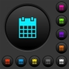 Single calendar dark push buttons with color icons - Single calendar dark push buttons with vivid color icons on dark grey background