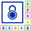 Locked round combination lock flat framed icons - Locked round combination lock flat color icons in square frames on white background