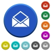Open mail beveled buttons - Open mail round color beveled buttons with smooth surfaces and flat white icons