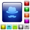 Incognito with mustache color square buttons - Incognito with mustache icons in rounded square color glossy button set