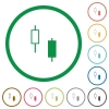 Two candlesticks flat icons with outlines - Two candlesticks flat color icons in round outlines on white background