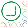 Vertical and horizontal scroll bars flat icons with outlines - Vertical and horizontal scroll bars flat color icons in round outlines on white background