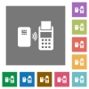Contactless payment square flat icons - Contactless payment flat icons on simple color square backgrounds