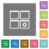 Dashboard settings square flat icons - Dashboard settings flat icons on simple color square backgrounds