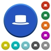 Silk hat round color beveled buttons with smooth surfaces and flat white icons