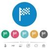 Single race flag flat round icons - Single race flag flat white icons on round color backgrounds. 6 bonus icons included.