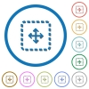 Drag object icons with shadows and outlines - Drag object flat color vector icons with shadows in round outlines on white background
