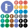 Right handed simple door handle multi colored flat icons on round backgrounds. Included white, light and dark icon variations for hover and active status effects, and bonus shades. - Right handed simple door handle round flat multi colored icons