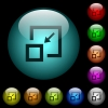 Shrink window icons in color illuminated glass buttons - Shrink window icons in color illuminated spherical glass buttons on black background. Can be used to black or dark templates