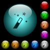 Magic wand icons in color illuminated spherical glass buttons on black background. Can be used to black or dark templates - Magic wand icons in color illuminated glass buttons
