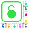 Unlocked round padlock vivid colored flat icons - Unlocked round padlock vivid colored flat icons in curved borders on white background