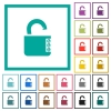 Unlocked combination lock with side numbers flat color icons with quadrant frames - Unlocked combination lock with side numbers flat color icons with quadrant frames on white background