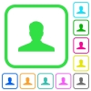 Anonymous avatar vivid colored flat icons - Anonymous avatar vivid colored flat icons in curved borders on white background