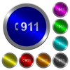 Emergency call 911 luminous coin-like round color buttons - Emergency call 911 icons on round luminous coin-like color steel buttons