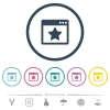 Favorite application flat color icons in round outlines. 6 bonus icons included. - Favorite application flat color icons in round outlines