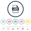 JAR file format flat color icons in round outlines. 6 bonus icons included. - JAR file format flat color icons in round outlines