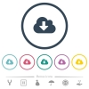 Cloud download flat color icons in round outlines. 6 bonus icons included. - Cloud download flat color icons in round outlines